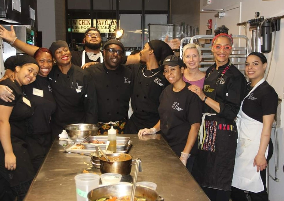 Hall teamed with up the center's culinary trainees to prepare a special four-course menu
