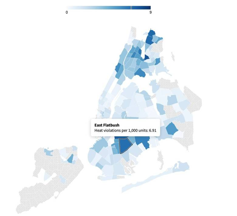 East Flatbush is among the top neighborhoods with the most heating violations