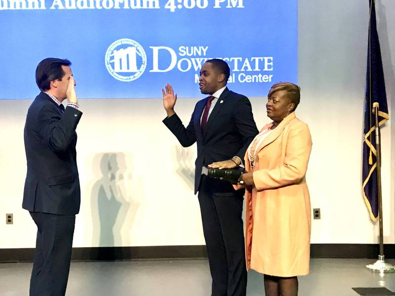 Elected officials and Central Brooklyn constituents flocked to SUNY Downstate's auditorium on Sunday to celebrate State Senator Zellnor Myrie's inauguration.