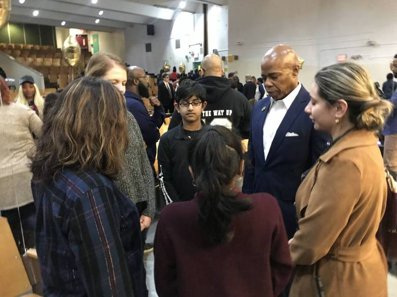 """Brooklyn Borough President Eric Adams joined the newly-trained """"Mindfulness Ambassadors"""" in a kindness meditation."""