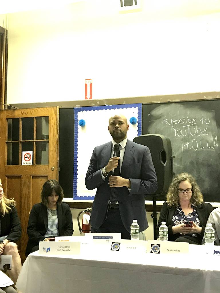 Travis Hill of the New York AG's Office spoke on laws protecting tenants from landlord harassment.