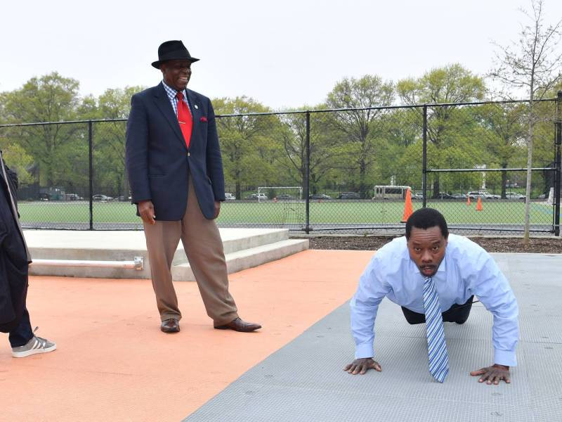 PPA Parade Grounds Adult Fitness Area. Friday, May 3, 2019 10AM, Prospect Park Alliance holds ribbon cutting ceremony for the Adult Fitness Area at Parade Grounds, Brooklyn NYC. In attendance, Prospect park Alliance president Sue Donoghue, councilman Eugene Matthews and others.