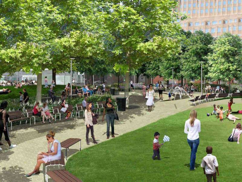 Amidst the building boom in Downtown Brooklyn, there comes a breath of fresh air in the form of a new public square — Willoughby Square -- with much delay.