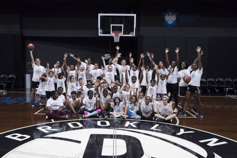 Close to 50 Brooklyn girls got to live out their hoop dreams on Sunday during the Brooklyn Nets' free, all-girls youth clinic at Barclays Center.