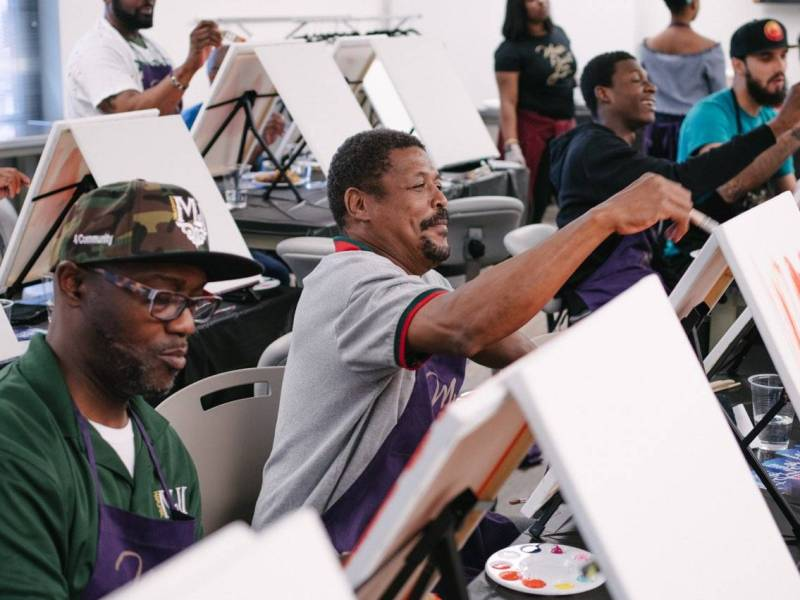 """Dozens of East New York dad's were treated to a Father's Day on Saturday with a """"Paint and Sip"""" party at the Prince Joshua Avitto Community Center."""