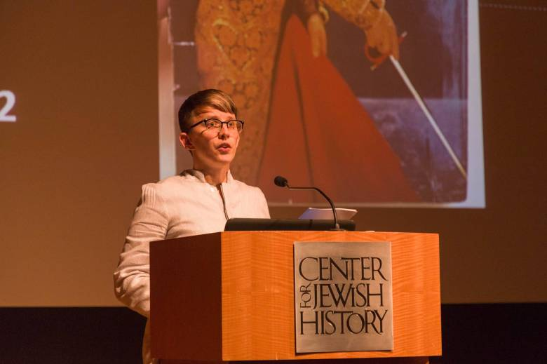 Rachel Miller talking at the Center for Jewish History