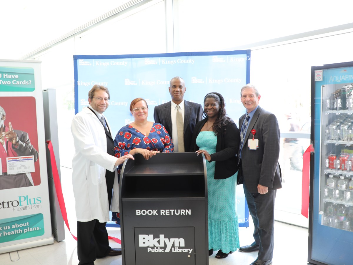 Flatbush readers who may running late returning their books to their local library now have a new location to drop them off: Kings County Hospital.