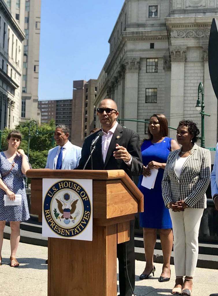 """Brooklyn Lawmakers decried Trump's policies that """"aim to terrorize and imitate immigrant communities all across America,"""" and vowed to push back."""