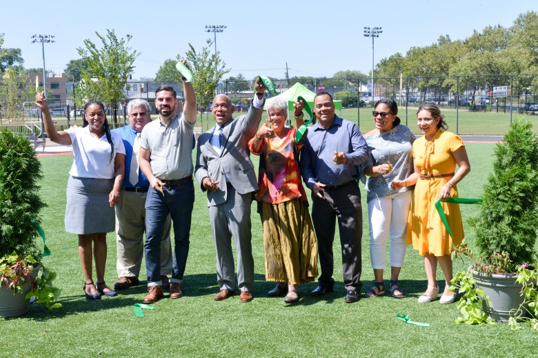 City officials and community members gathered Friday in East New York to officially cut the ribbon on the newly-revamped City Line Park.