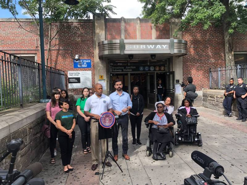 """Councilmember Rafael Espinal and Brooklyn Borough President Eric Adams are calling on the MTA to allocated """"serious founding"""" to fix Broadway Junction."""