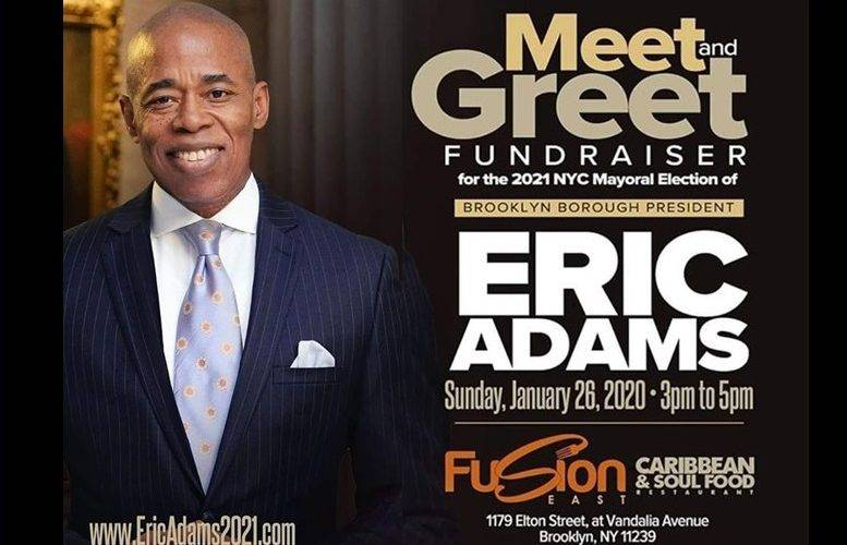 Eric Adams, mayoral candidate, NYC mayoral race, meet and greet, Fusion Restaurant, fundraiser