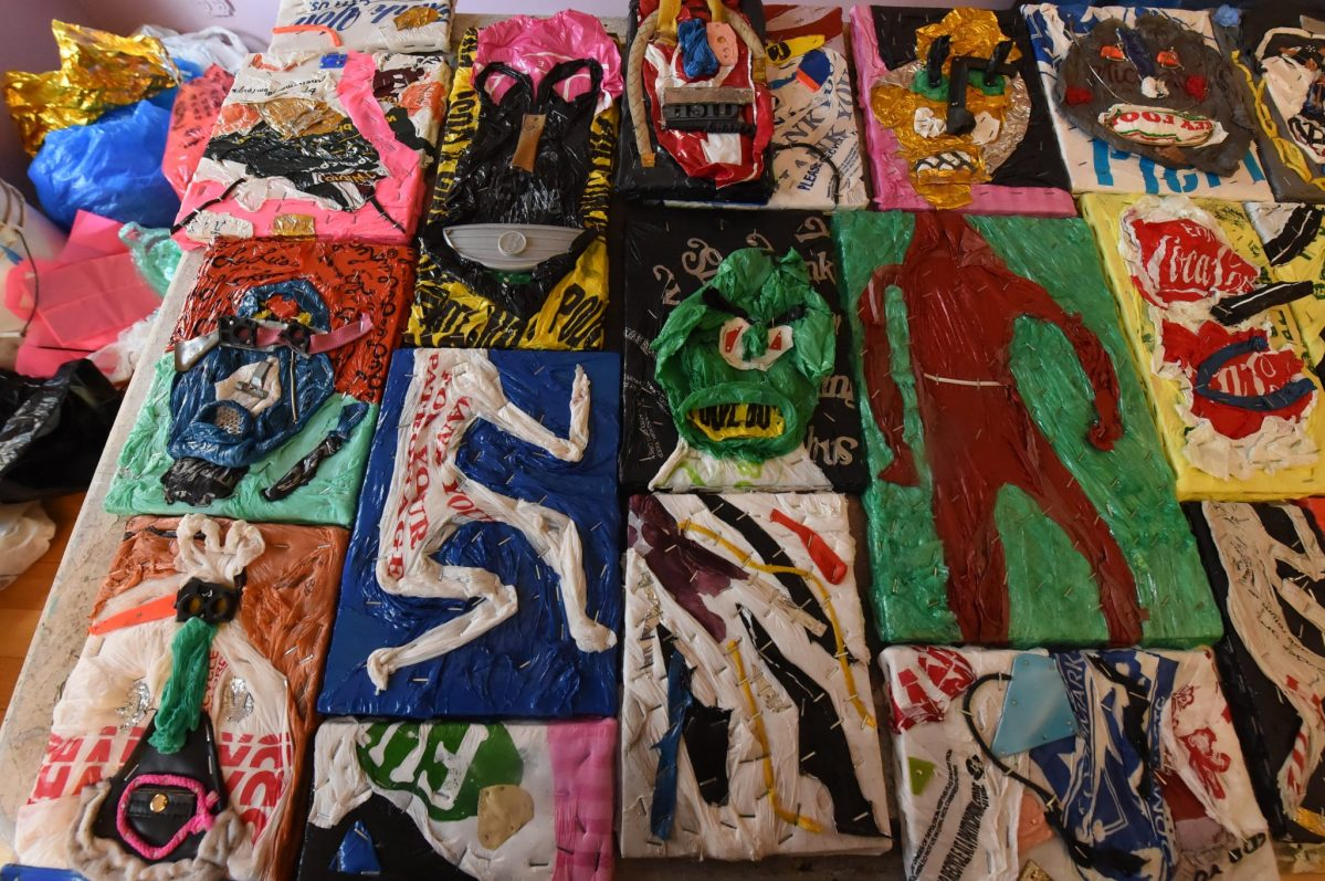 With plastic bag ban looming, a Brooklyn artist recycles used bags into works of art