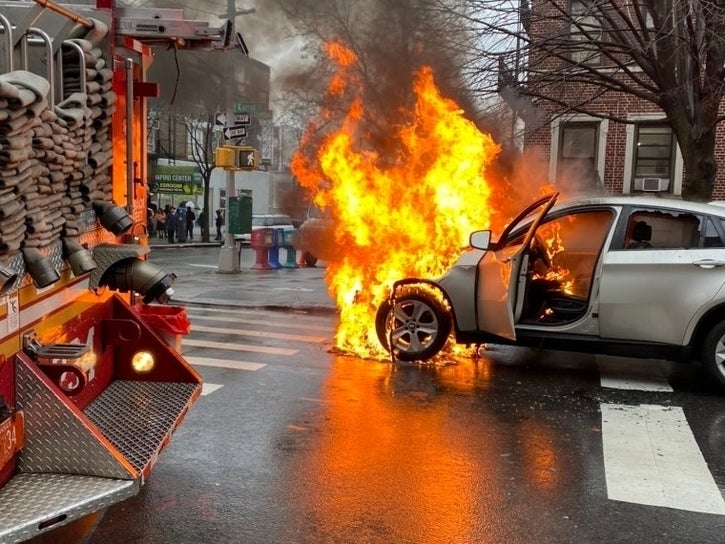 Car Bursts Into Flames In Crown Heights