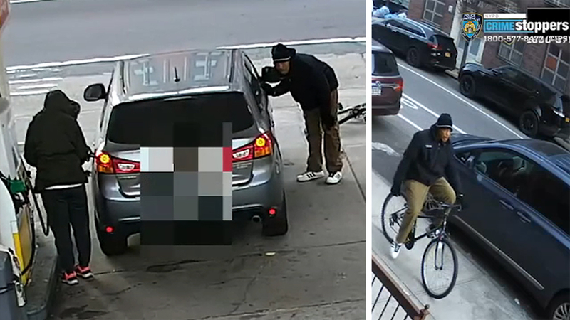 Video shows man stealing woman's wallet at gas station in Brooklyn