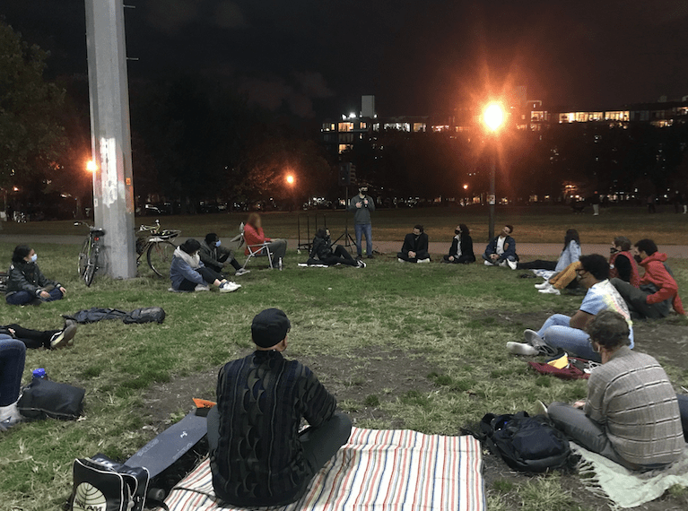 The McCarren Park Gathering during a group discussion on Tuesday night. Photo: Miranda Levingston for the BK Reader.