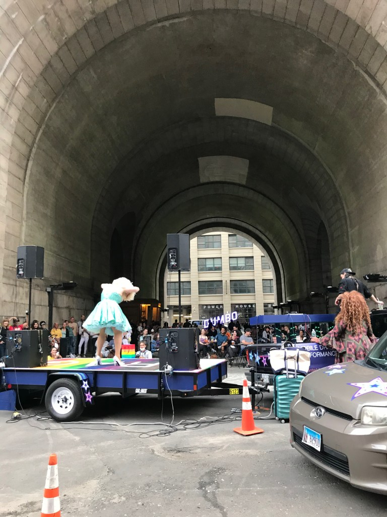 Mobile Drag Unit dazzling at the DUMBO archway. Photo: Matthew Day Perez.
