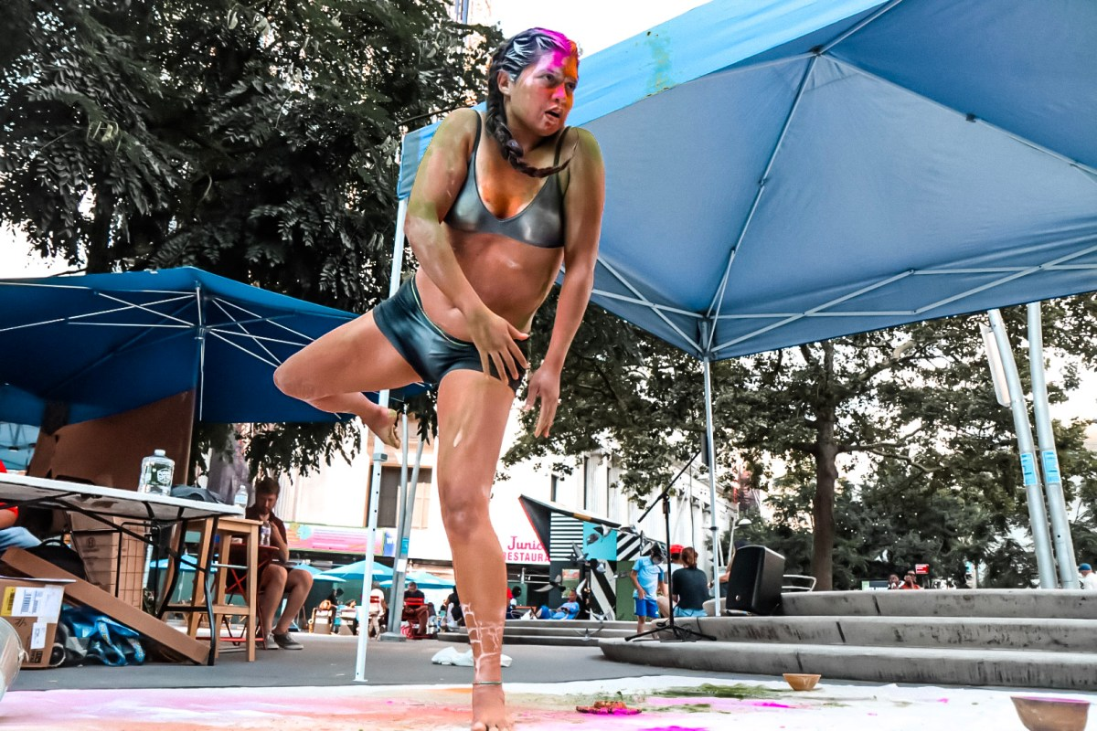 Salomé Egas performing in Kyoung's Pacific Beat's COMMUNITY CARES at Albee Square. July 10th, 2021. Presented in partnership with GAPIMNY - Empowering Queer and Trans APIs, The Exponential Festival, and Downtown Brooklyn Partnership. Photo: Ash Marinaccio.