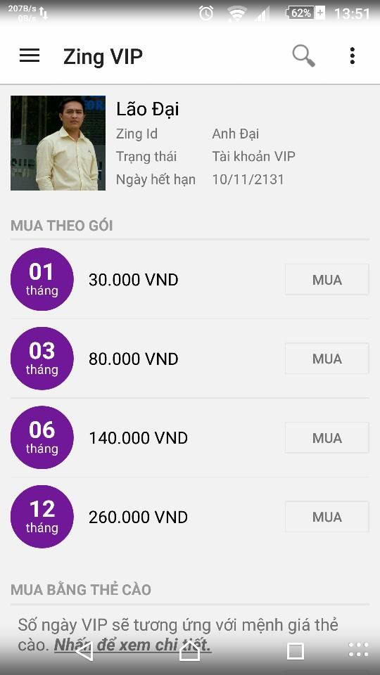 Share tài khoản Zing MP3 Vip cho điện thoại Android