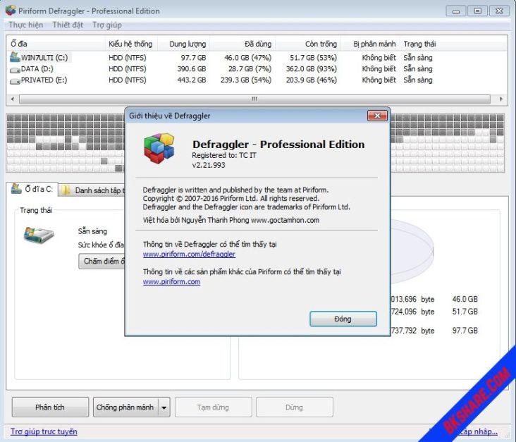 Defraggler Professional Full Key - Chống phân mảnh ổ cứng