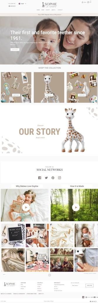 Sophie giraffe website screenshot