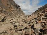 The rocky boulder field that makes up the Chalamain Gap.