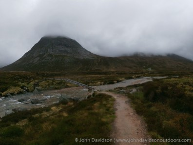 Approaching the footbridge over the River Dee on the way to Corrour bothy at the end of a long day.