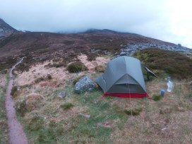 Camped beside the path into Coire Odhar.