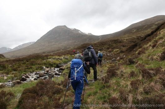 Through Gleann nam Fiadh with Tom a' Choinich ahead.
