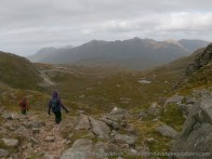 The start of the steep descent into Coire Grannda, with view to Liathach ahead.