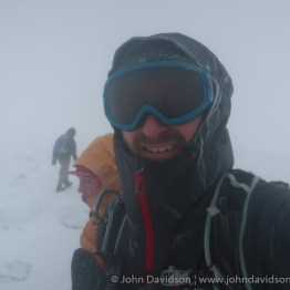 Goggles on as John and Peter arrive at the top of Cairn Gorm, where another walking has come up from the Ptarmigan restaurant.