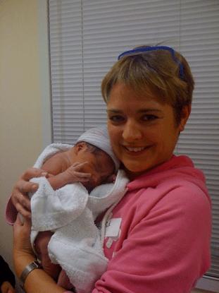 Astrid met haar eerste Doula Baby in 2010 in de VS