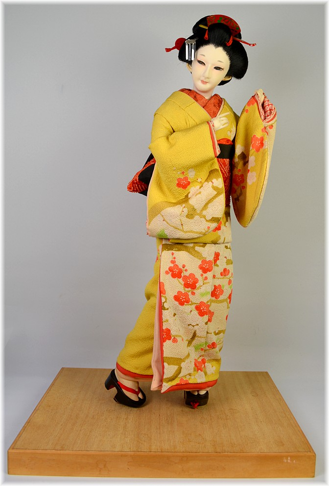 Japanese antique silk face doll of a young townswoman