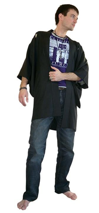 Japanese mans black silk Kimono Jacket Haori with samurai