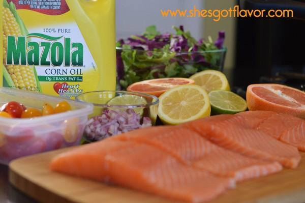 BMWK Pan Seared Salmon Over Arugula Salad with Sweet Citrus Vingerette Dressing ingredients (600x399)