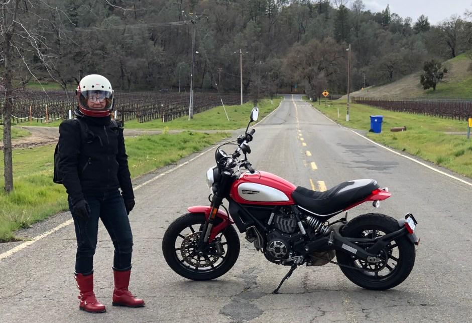 Melinda Epler and her Ducati Scrambler