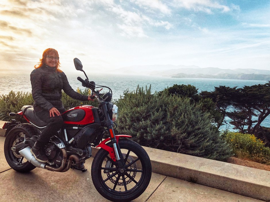Melinda Epler on her Ducati Scrambler Icon 2017
