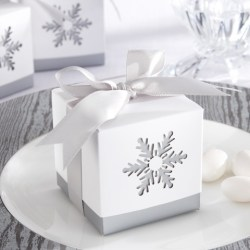 Snow flake style bomboniere box with sugar almond as wedding favours idea