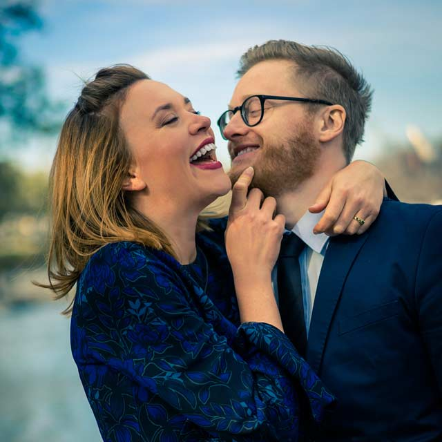 Melbourne engaged couple having a laugh at their engagement photography session by Black Avenue Productions
