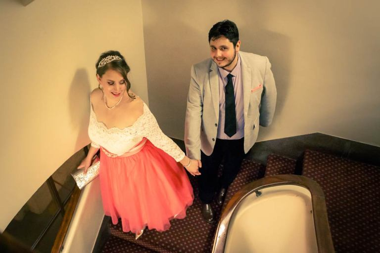 Getting married in Victorian Marriage Registry Old Treasure Building 2017 in her pink wedding dress