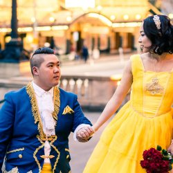 beauty and the beast theme wedding photo in palace background on Spring Street Melbourne