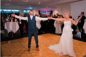 Melbourne bride and groom first dance at Anglers Tavern Maribyrnong wedding reception1