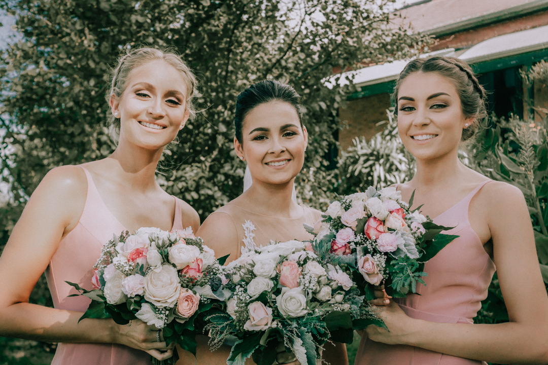 Mornington Peninsula bridal party photo with bride and two bridesmaids