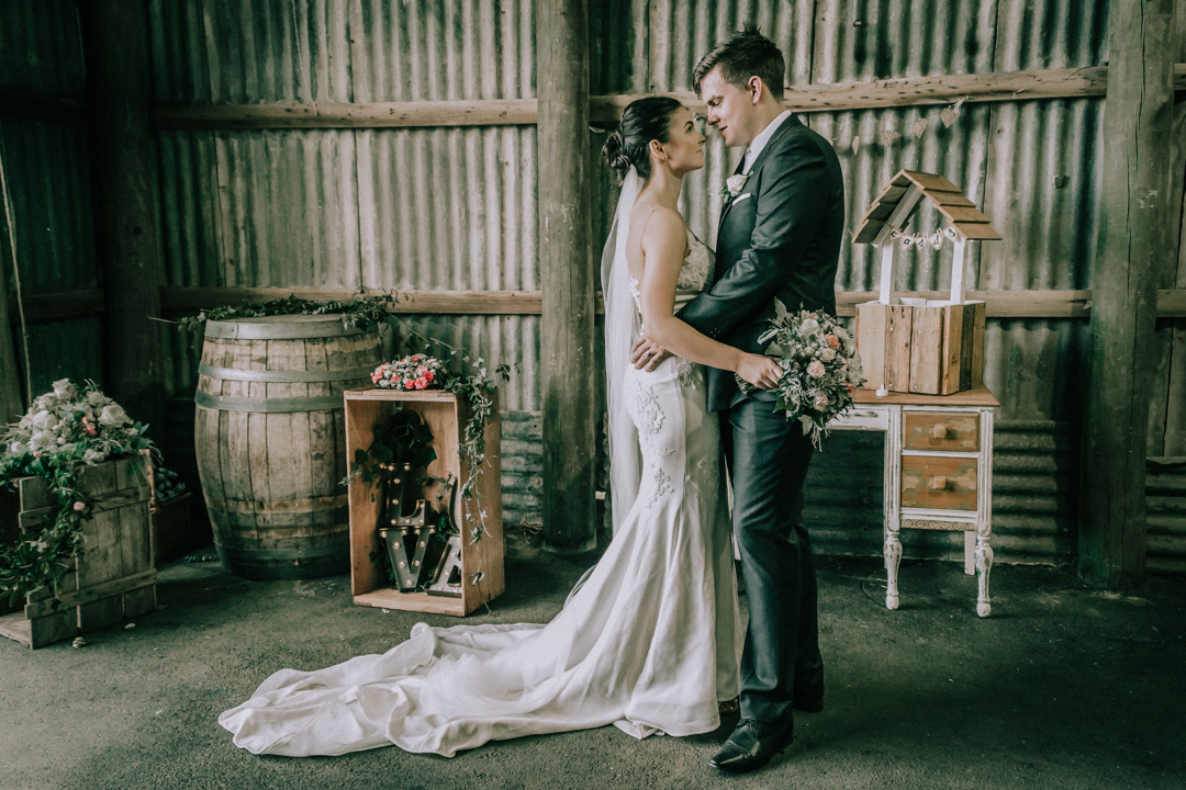 trendy rustic barn wedding reception at Mount Martha in Mornington Peninsula