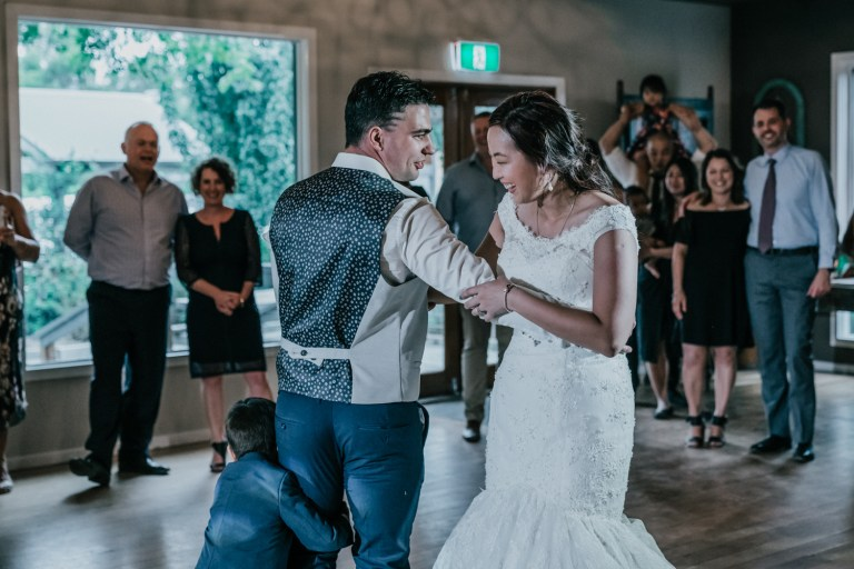 couple toddler joining wedding first dance at Immerse Yarra Valley