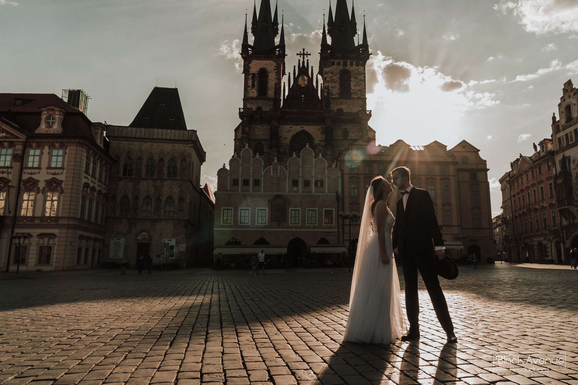 Anna and Libor wedding at Prague Old Town square taken by destination wedding photographers Black Avenue Productions