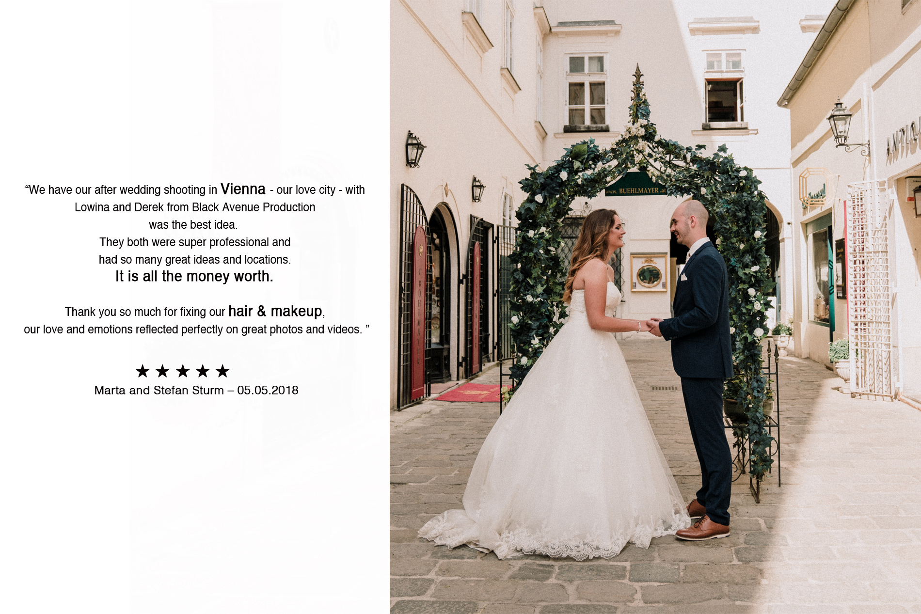 Vienna couple gave 5 stars review to Black Avenue Productions for their European wedding photography tour 2018