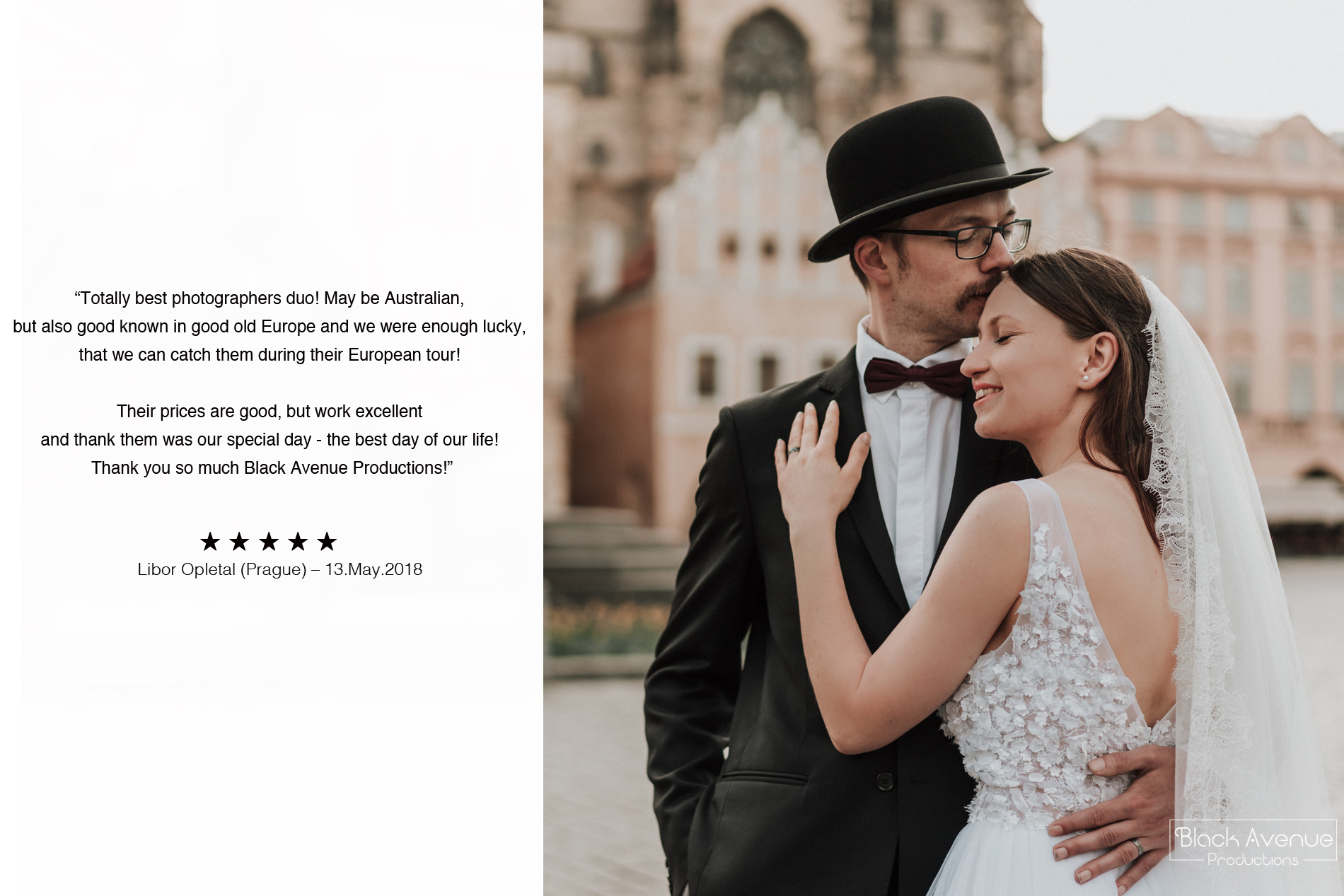 Prague wedding photography 5 stars review at Prague Old Town Square