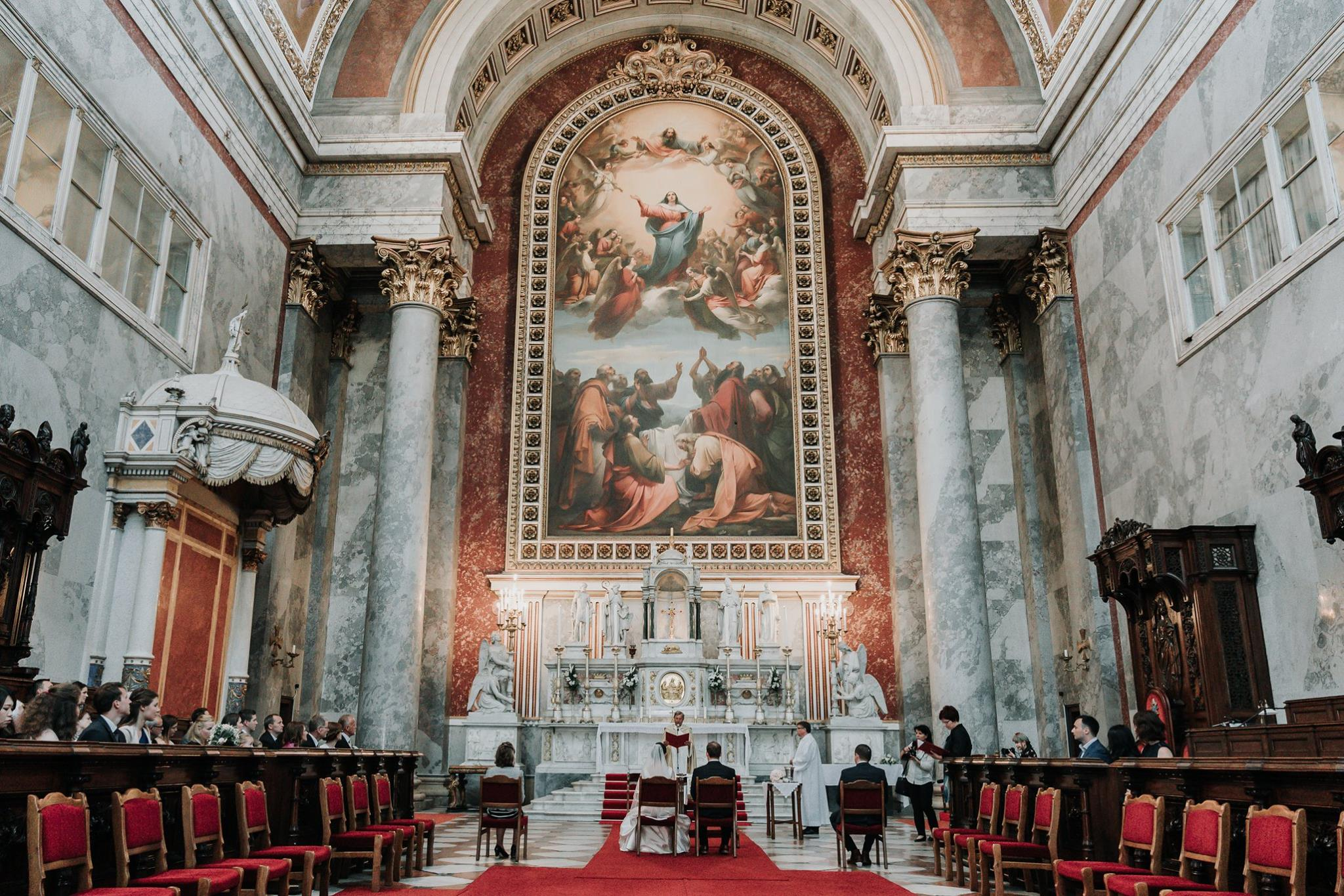Melbourne couple got married at Esztergomi Basilica church in Europe on Destination wedding captured by wedding photographers Black Avenue Productions