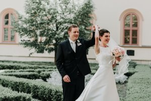 candid moments of Wedding first look captured perfectly by Melbourne photographer Lowina Blackman from Black Avenue Productions in destination wedding in Europe