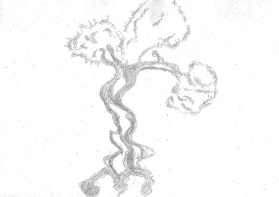 Bonsai Tree drawing on A4 paper